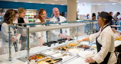 The cafeteria inside the building offers convenience and great food.