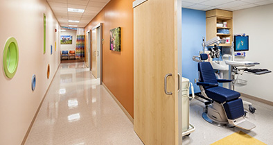 The rooms in our Bryn Mawr pediatric specialty care office are colorful and full of light.