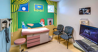 The exam rooms in our Clermont pediatric office are bright, colorful and specifically designed for kids.