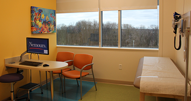 The primary care exam rooms at our Concordville location are bright and friendly.