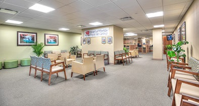 The waiting area of our Davenport pediatric specialty care office is spacious and comfortable.