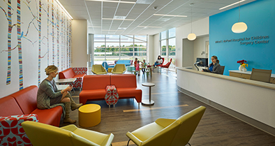The interior of our Deptford pediatric specialty care location is full of bright, colorful design features.
