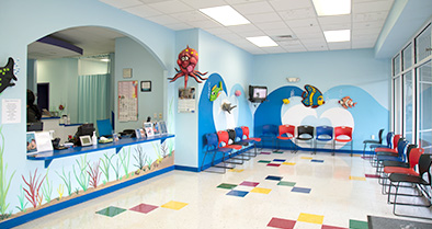 The inside of our Dr. Phillips office is colorful and fun.