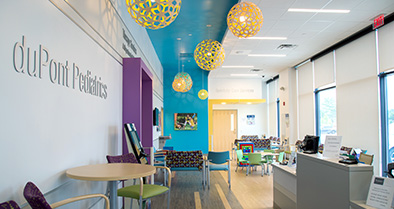 The waiting area of our Glen Mills pediatric urgent care office is spacious and bright.