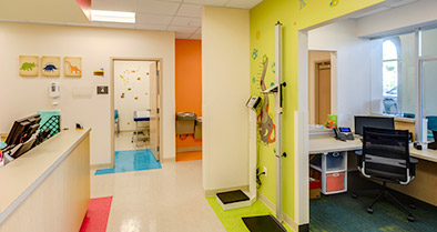 A height and weight measuring station in the hallway helps kids see how they're growing.