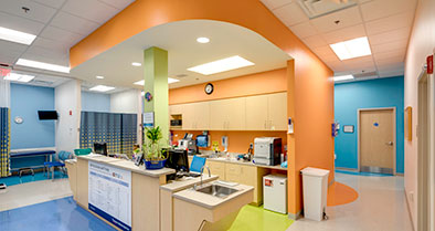 The staff's station is centrally located in the office to ensure quick and efficient care.