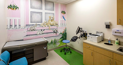 Kid-friendly, wall murals brighten our exam rooms.