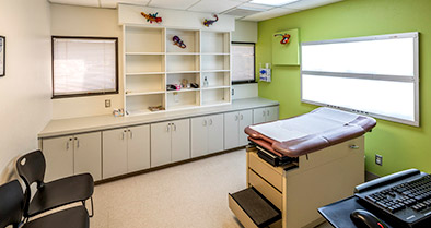 Our exam rooms are spacious and well-equipped to care for kids of all ages, newborns to teens.