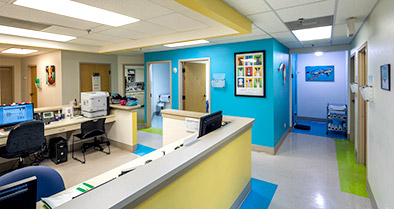The interior of our pediatric primary care office is bright and colorful.