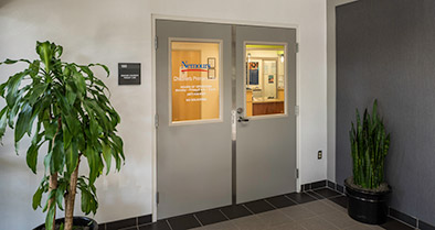 The entrance to our pediatric primary care office is located inside the building in Suite 100.