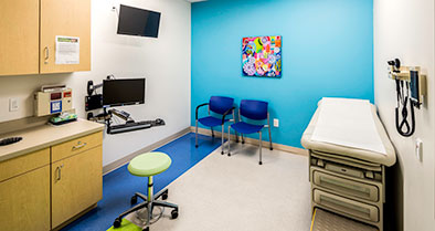 Our pediatric exam rooms are bright.