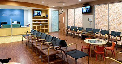 The waiting area of our Newtown Square pediatric specialty care office is spacious and comfortable.