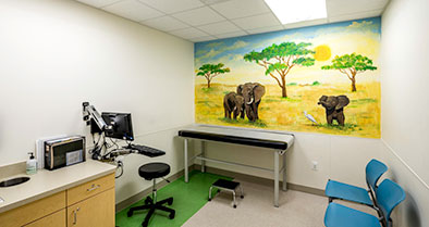 An exam room's wall has a bright, kid-friendly wall mural of elephants.