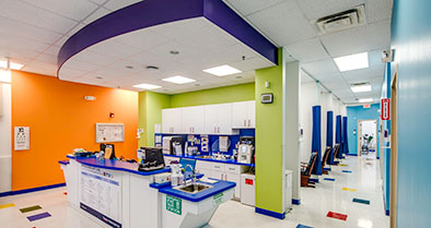 Our pediatric urgent care exam rooms are bright.