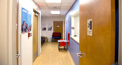 The waiting area of our Upland pediatric specialty care office is cozy and comfortable.