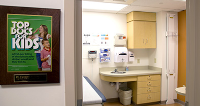 Our pediatric specialty care office has clean and bright exam rooms.