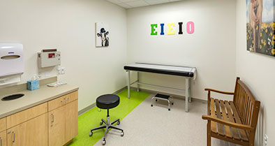 An exam room in our pediatric primary care office.