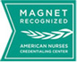 Magnet logo, recognized by American Nurses Credentialing Center