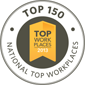 Logo for Top 150 National Top Workplaces in the country.