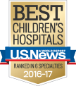 U.S. News & World Report logo, ranked among best children's hospitals