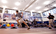 AI duPont Hospital boy patient runs in Center for Sports Medicine gym