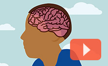 Illustration of a child's brain with a video play icon overtop